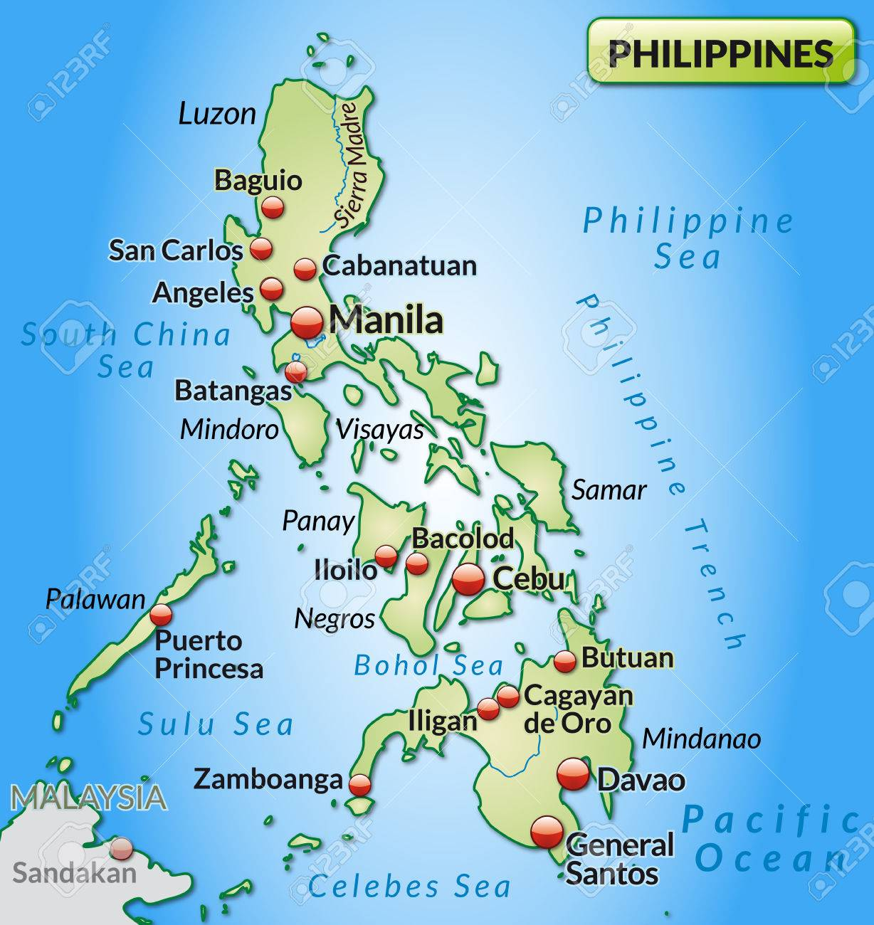 Map Of Philippines As An Overview Map In Pastel Green Royalty Free ...