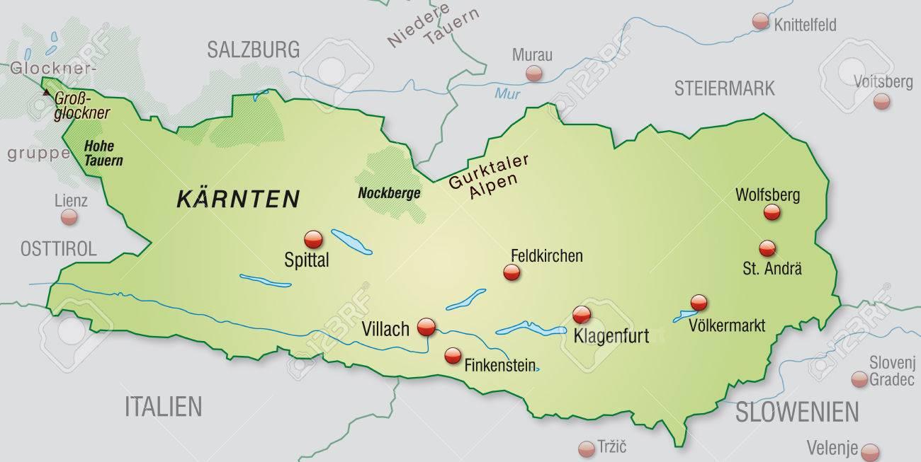 Karte Von Karnten Als Ubersichtskarte In Pastellgrun Lizenzfrei