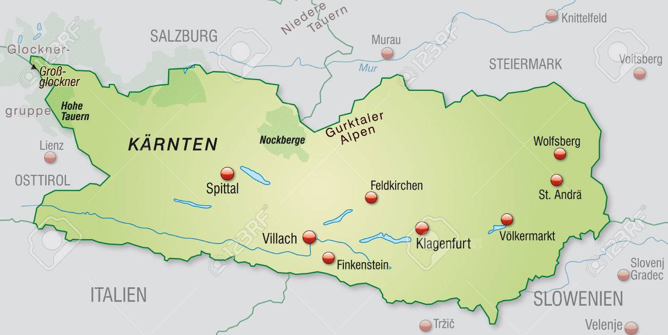 Map Of Kaernten As An Overview Map In Pastel Green Royalty Free