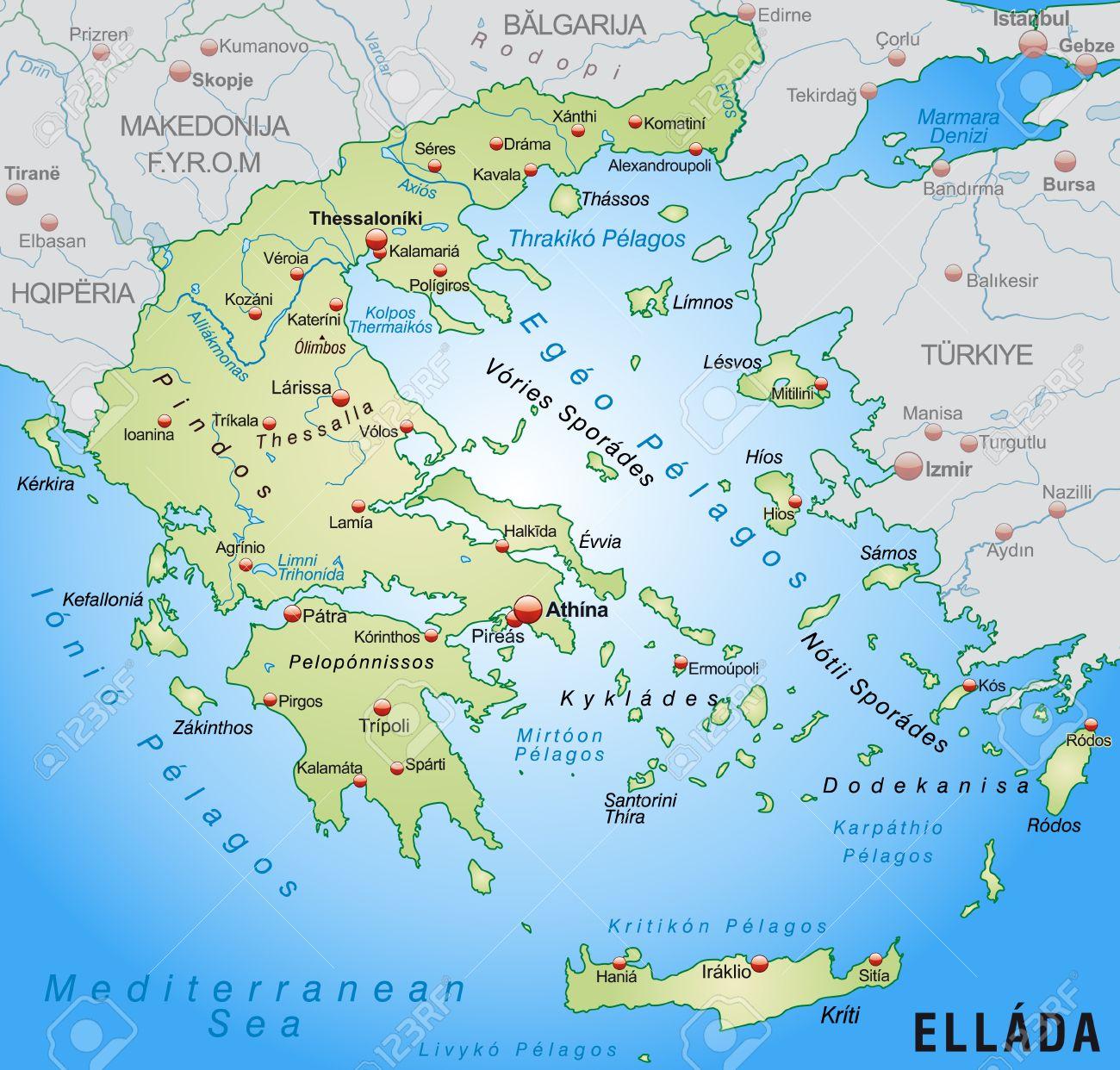 Karte Griechenland Deutsch.Stock Photo