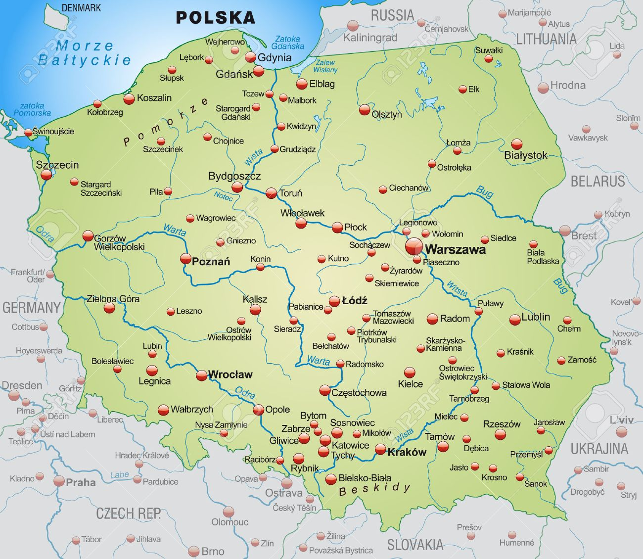 Polen Karte.Stock Photo