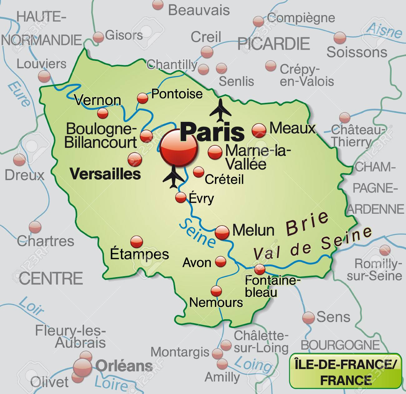 Map Of France Versailles.Map Of Ile De France As An Overview Map In Pastel Green Royalty Free