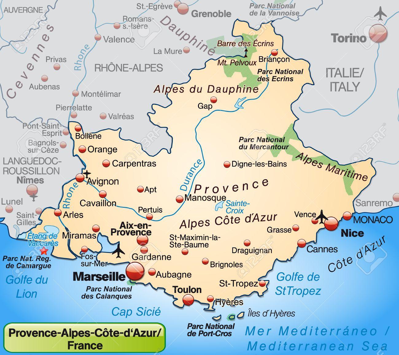 cote d azur karte Karte Von Provence Alpes Côte D'Azur, Wie Eine Übersichtskarte In