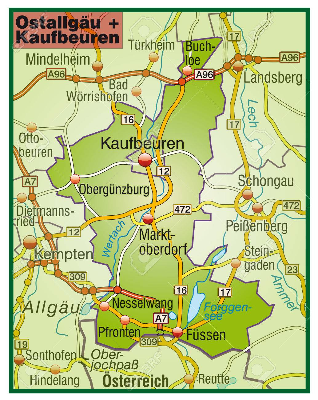 Map Of Ostallgaeu Kaufbeuren With Highways Royalty Free Cliparts