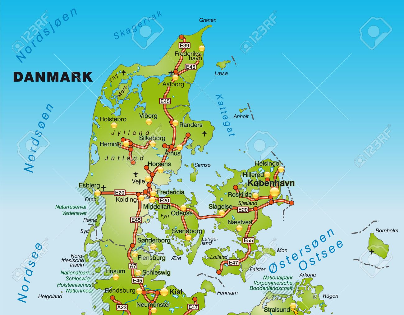 map of denmark with highways royalty free cliparts vectors and