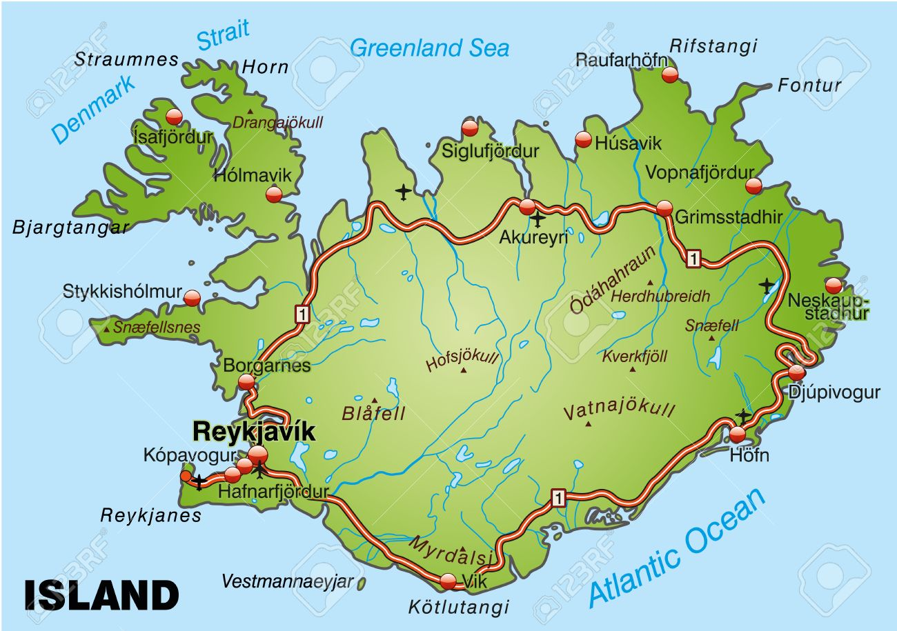 Map Of Iceland With Highways Royalty Free Cliparts Vectors And