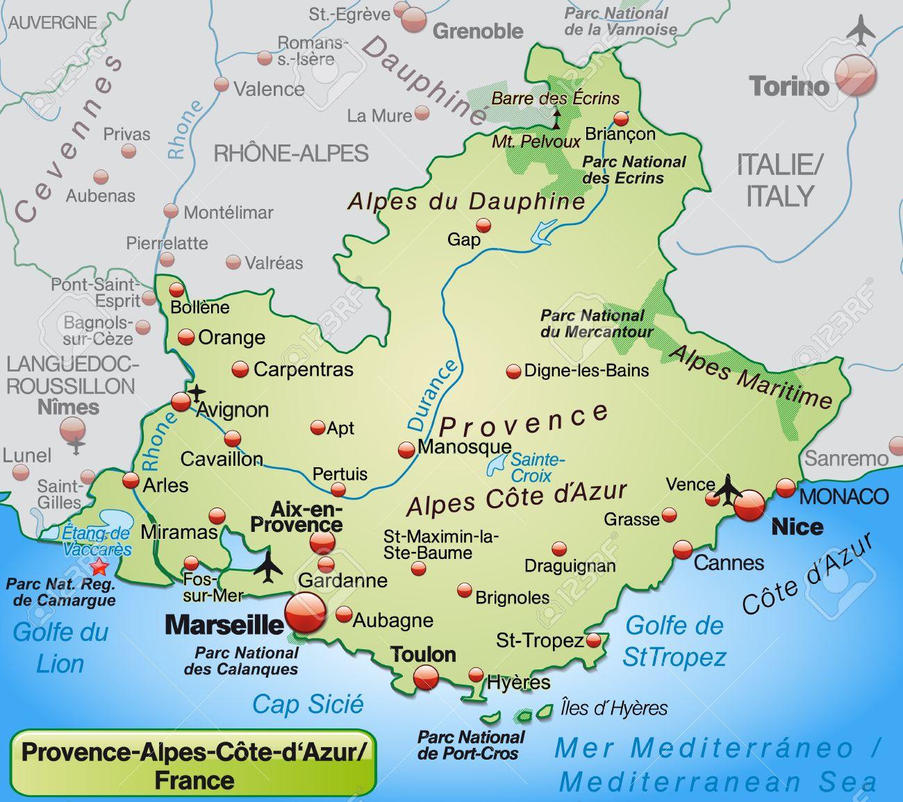 provence karte Karte Von Provence Alpes Côte D'Azur, Wie Eine Übersichtskarte In  provence karte