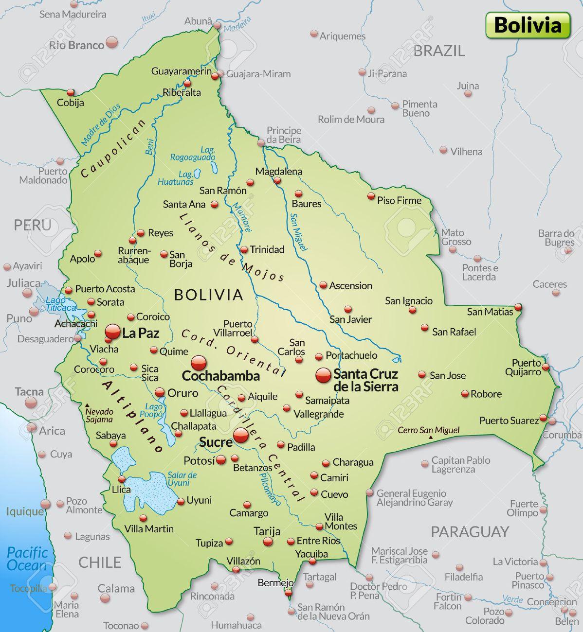 Karte Von Bolivien Als Ubersichtskarte In Pastell Grun Lizenzfrei