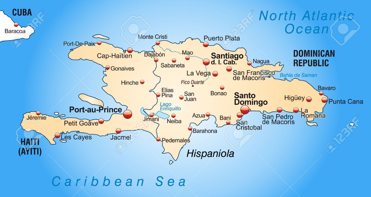 map of hispaniola as an overview map in pastel orange royalty free