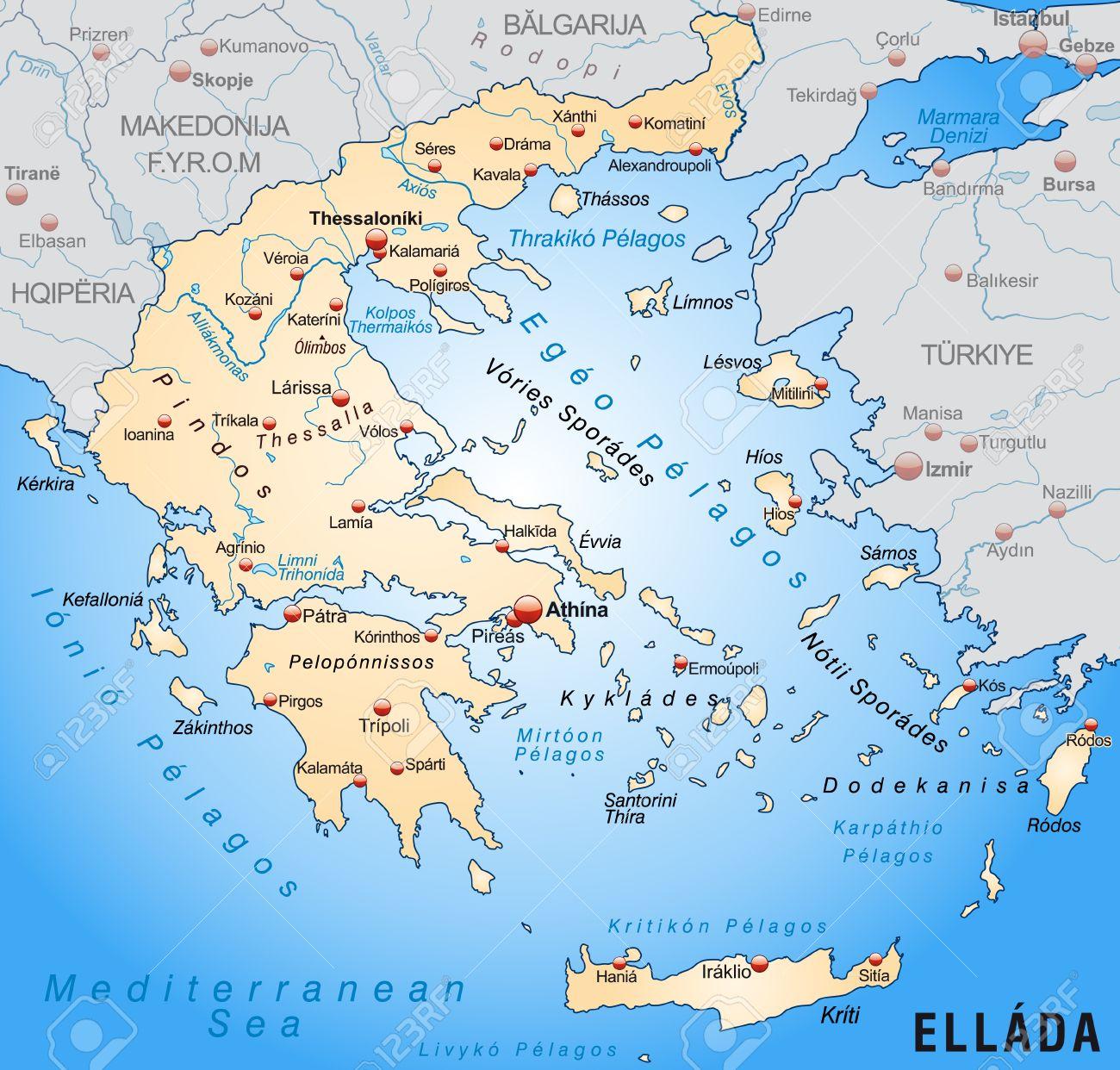 griechenland karte Karte Von Griechenland Als Übersichtskarte In Pastell Orange  griechenland karte