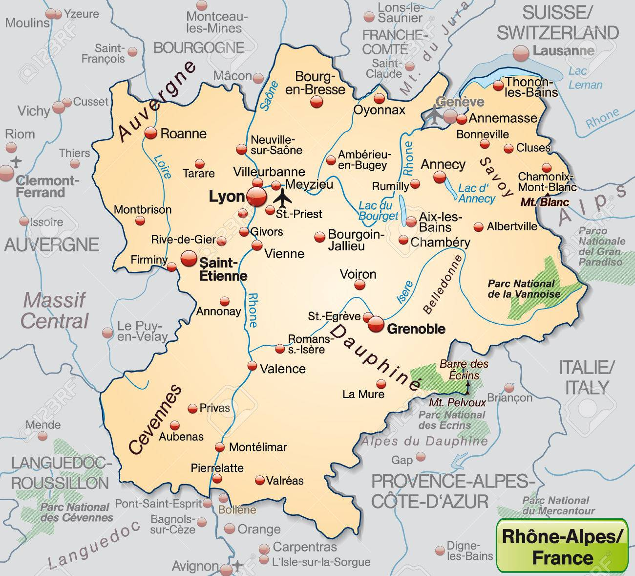 Map Of Rhone-alps As An Overview Map In Pastel Orange Royalty Free ...