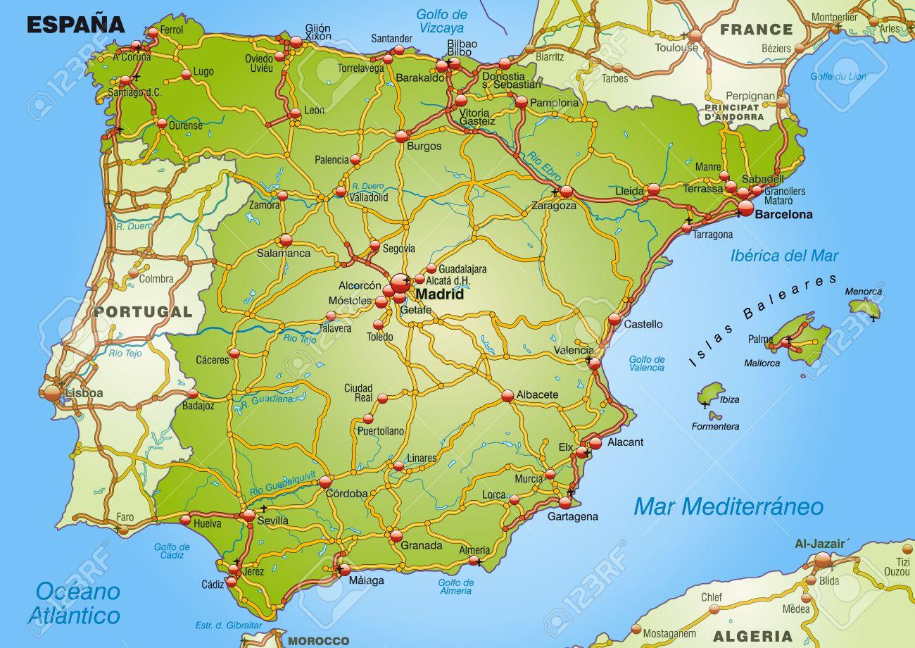 Los pantanos de Franco 25020281-Mapa-de-Espa-a-con-las-carreteras-Foto-de-archivo