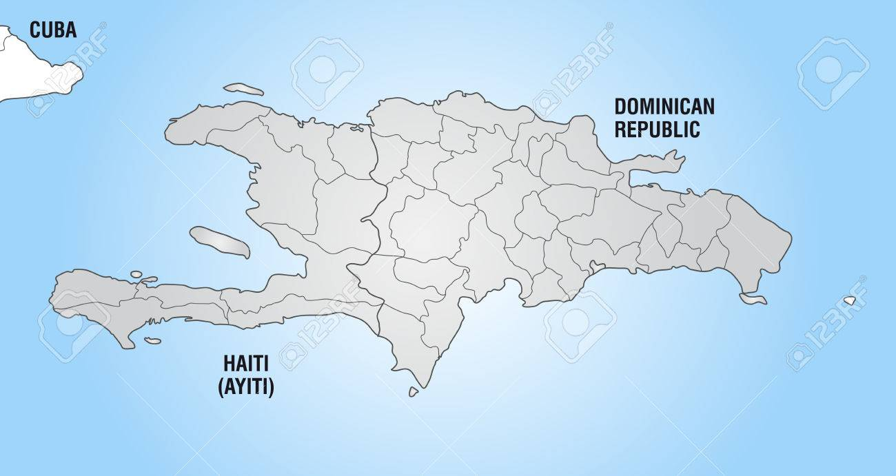 Map Of Hispaniola With Borders In Gray Royalty Free Cliparts