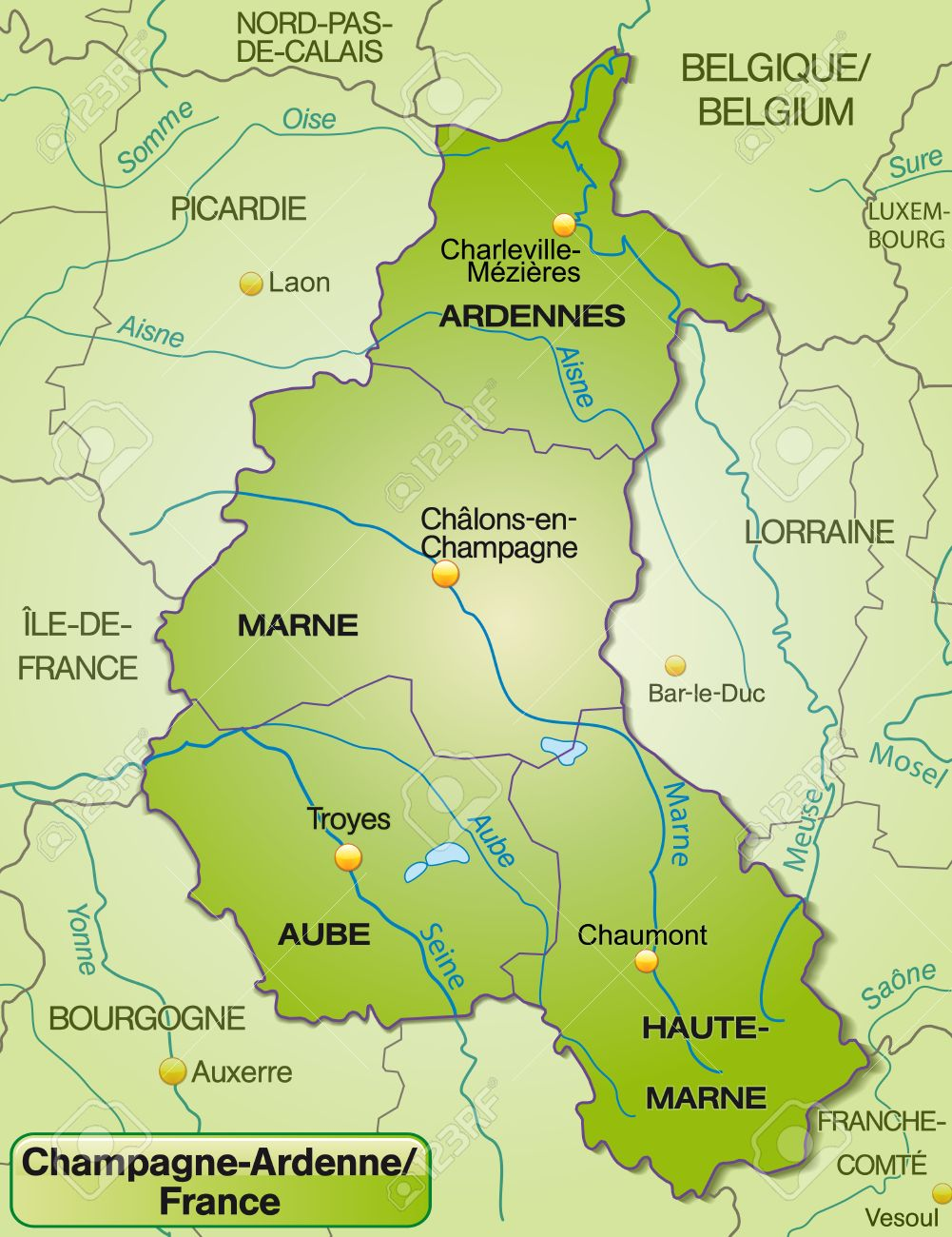 map of champagne ardenne with borders in green stock vector 25020367