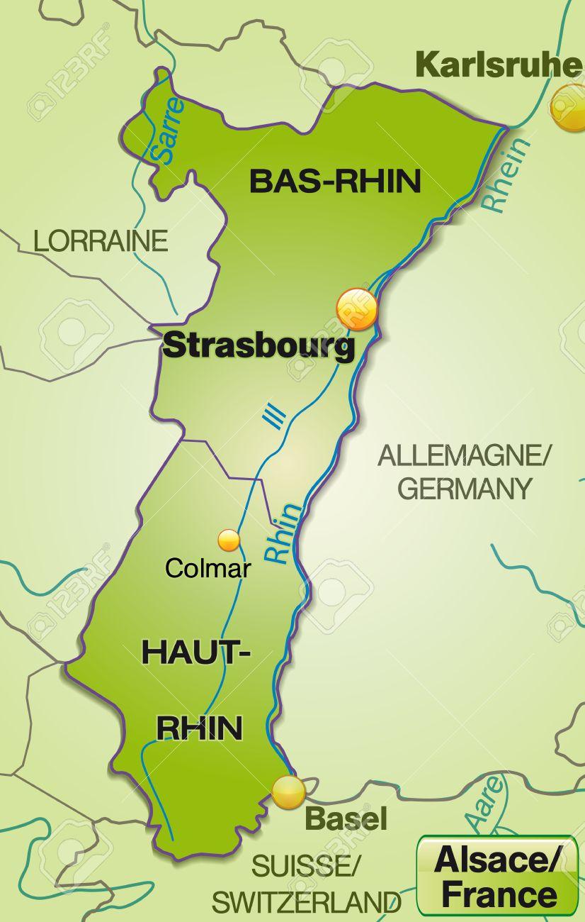 Carte Frontiere Alsace Allemagne.Carte De L Alsace Avec Des Frontieres En Vert