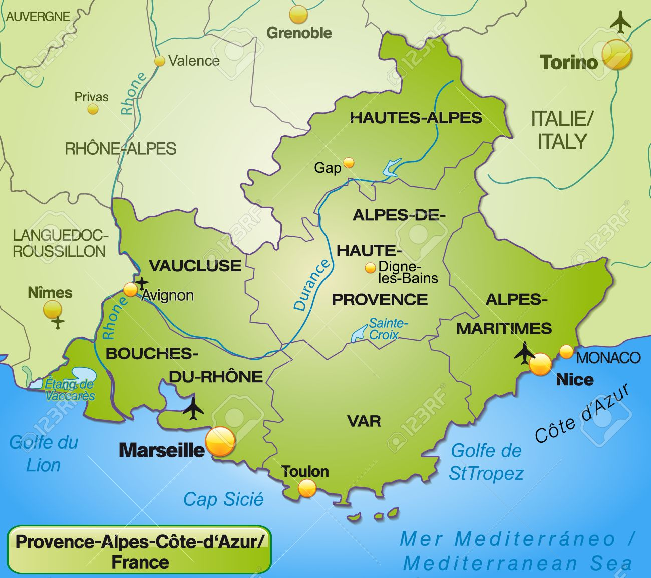 cote d azur karte Map Of Provence Alpes Cote D Azur With Borders In Green Royalty