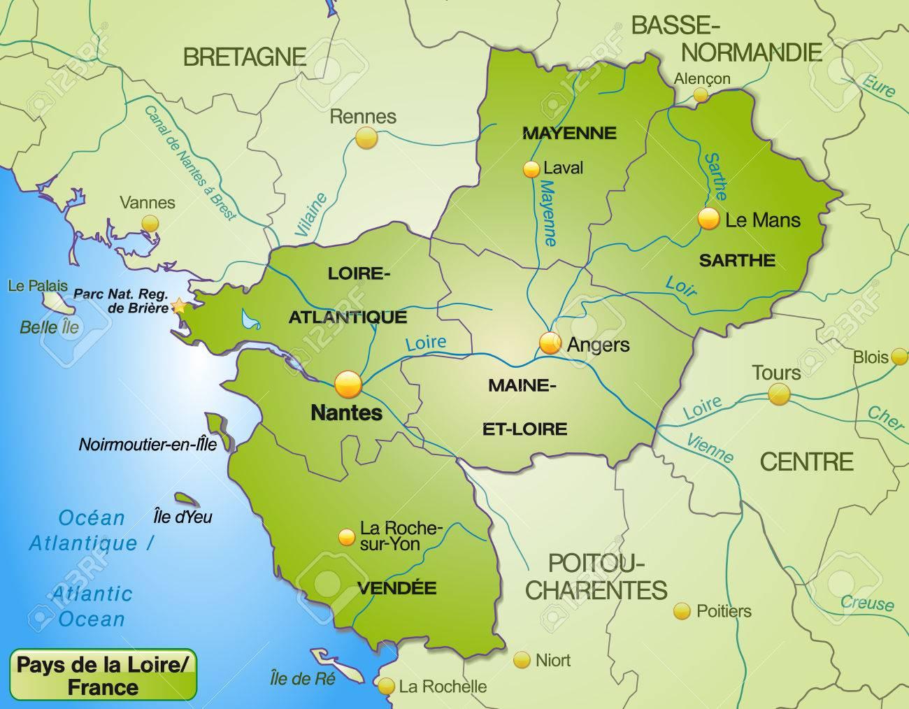 Carte Bretagne Pays De La Loire.Map Of Pays De La Loire With Borders In Green