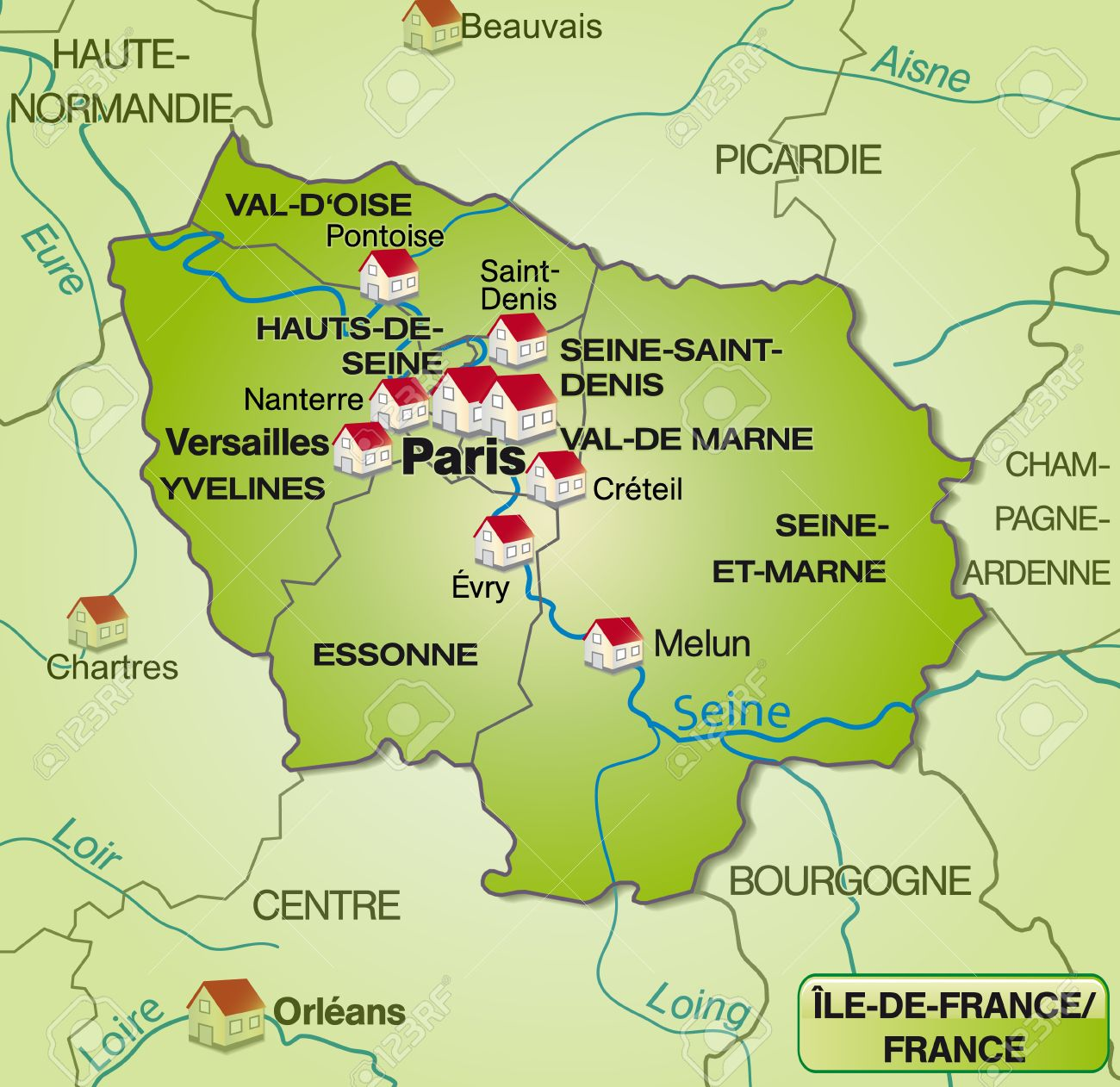 Map Of Yvelines France.Map Of Ile De France With Borders In Green Royalty Free Cliparts