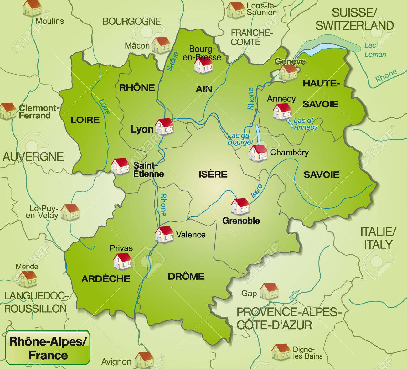 Map Of Rhone Alps With Borders In Green Royalty Free Cliparts ...