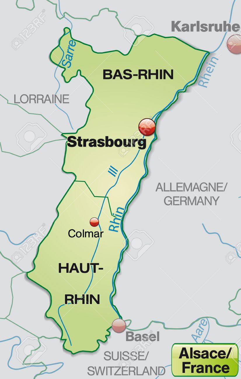 Elsass Auf Karte.Karte Von Elsass Mit Grenzen In Pastellgrun Lizenzfrei Nutzbare