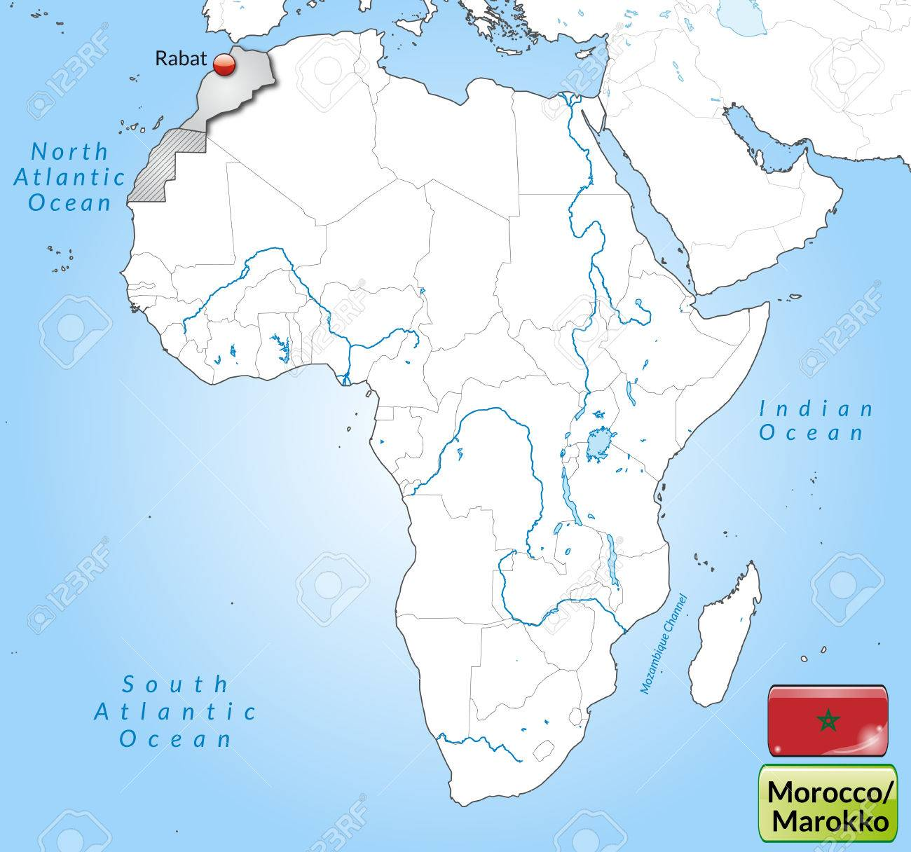 Cartina Politica Del Marocco.Vettoriale Mappa Del Marocco Con Le Principali Citta In Grigio Image 25020557
