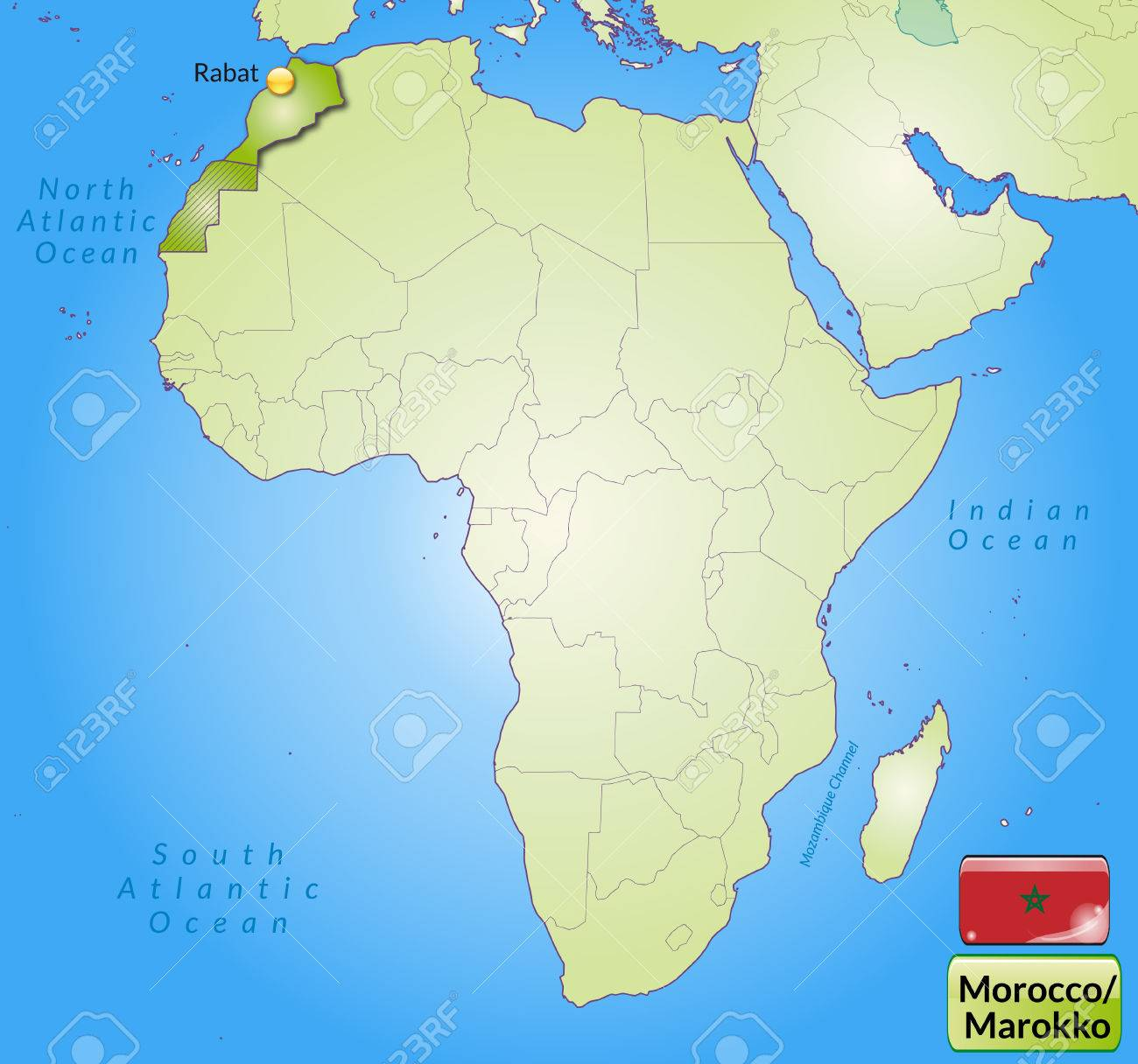 Map Of Morocco With Main Cities In Green Royalty Free Cliparts ...