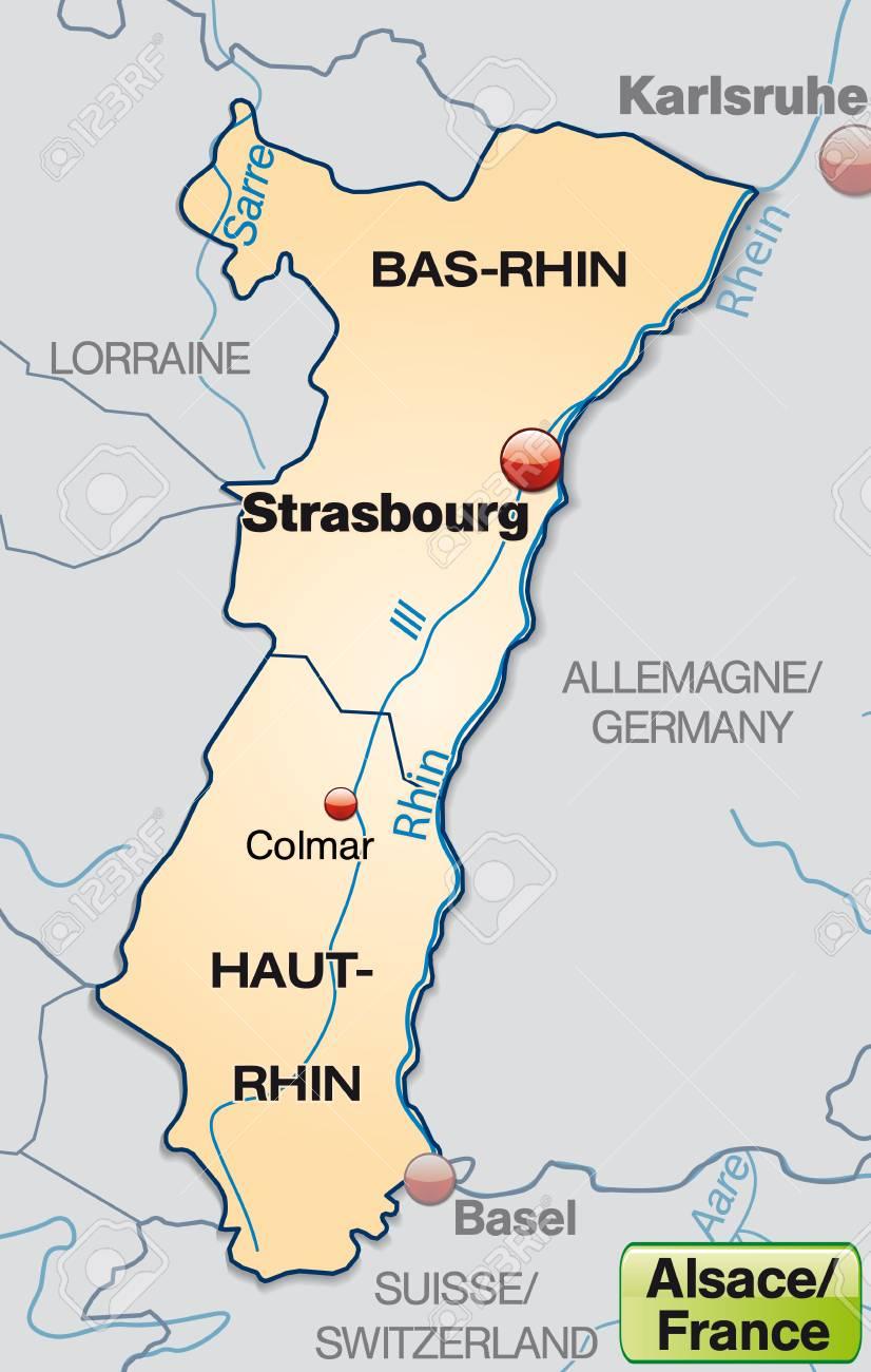 Carte Frontiere Alsace Allemagne.Carte De L Alsace Avec Des Frontieres En Orange Pastel