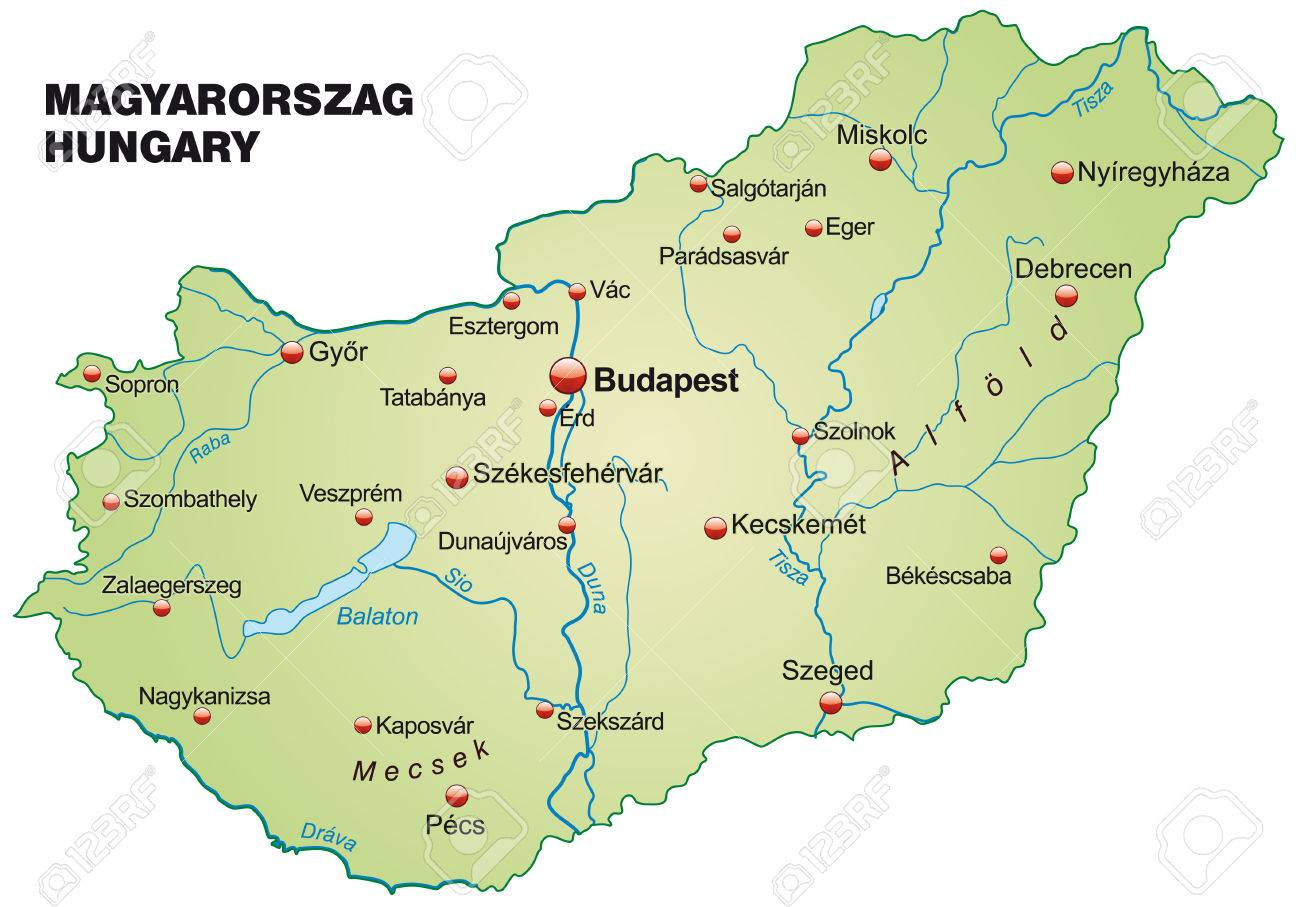 Map Of Hungary As An Overview Map In Pastel Green Royalty Free