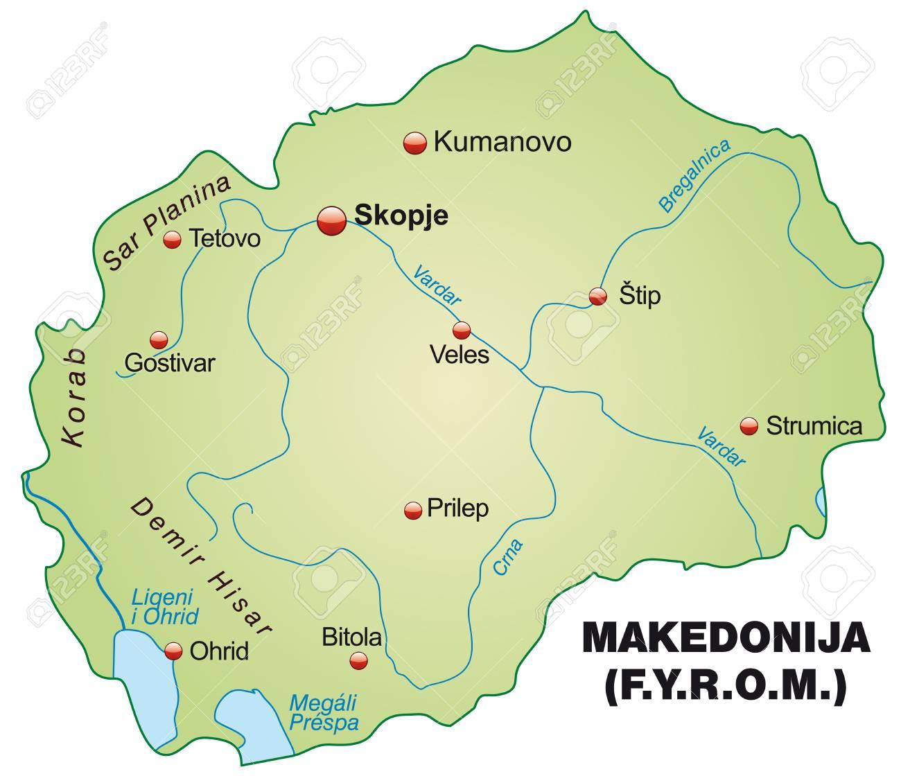 Mazedonien Karte.Stock Photo