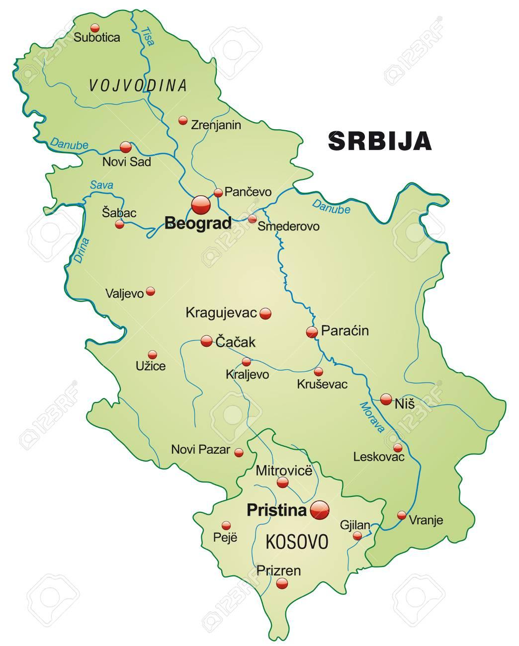Karte Von Serbien Als Ubersichtskarte In Pastell Grun Lizenzfrei
