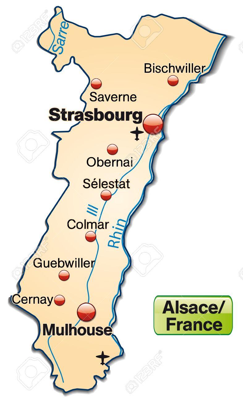 Elsass Auf Karte.Karte Von Elsass Als Ubersichtskarte In Pastell Orange Lizenzfrei