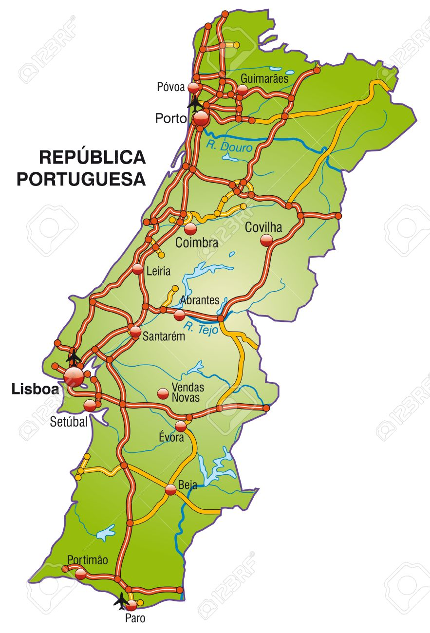 Map Of Portugal With Highways Royalty Free Cliparts Vectors And - Portugal motorway map
