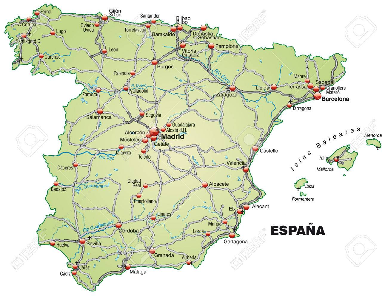 Map Of Spain Valladolid.Map Of Spain With Highways In Pastel Green