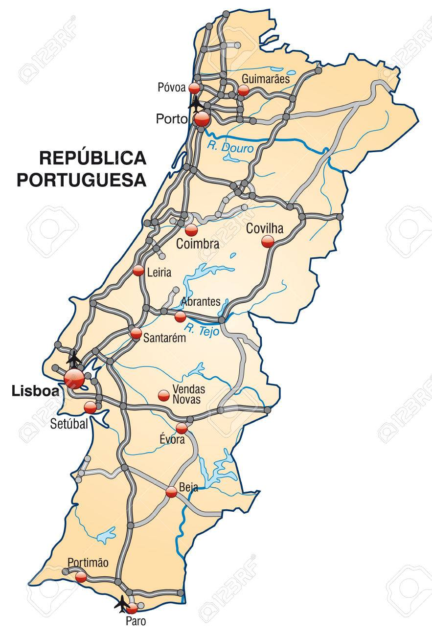 Map Of Portugal With Highways In Pastel Orange Royalty Free - Portugal motorway map