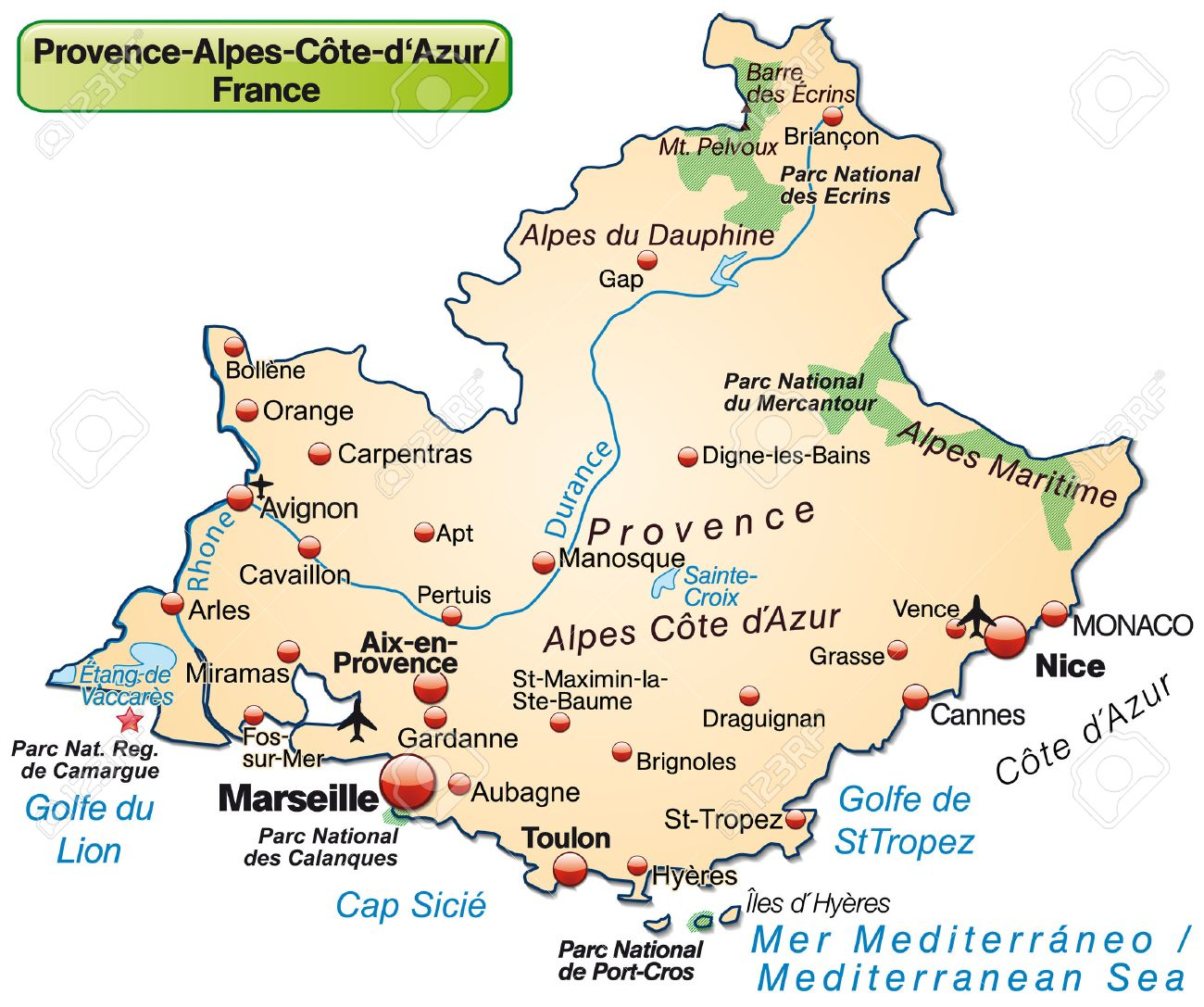 provence karte Map Of Provence Alpes Cote D Azur As An Overview Map In Pastel