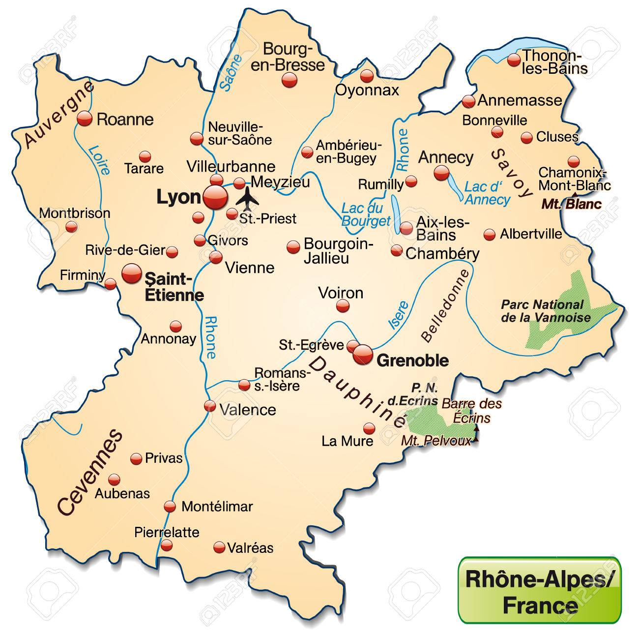 Map Of Rhone Alps As An Overview Map In Pastel Orange Royalty Free ...