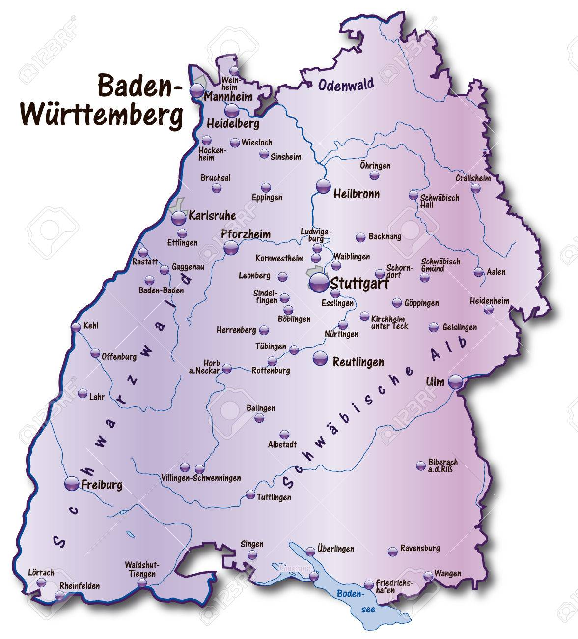 Map Of Baden Wuerttemberg As An Overview Map In Violet Royalty