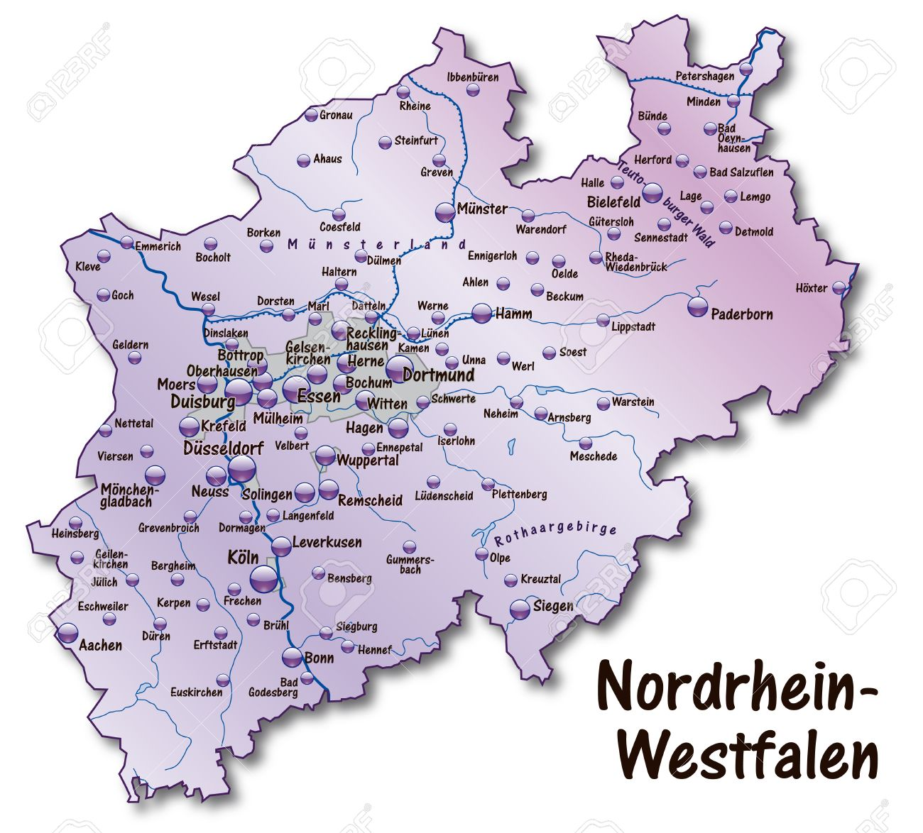 Map Of North RhineWestphalia As An Overview Map In Violet Royalty