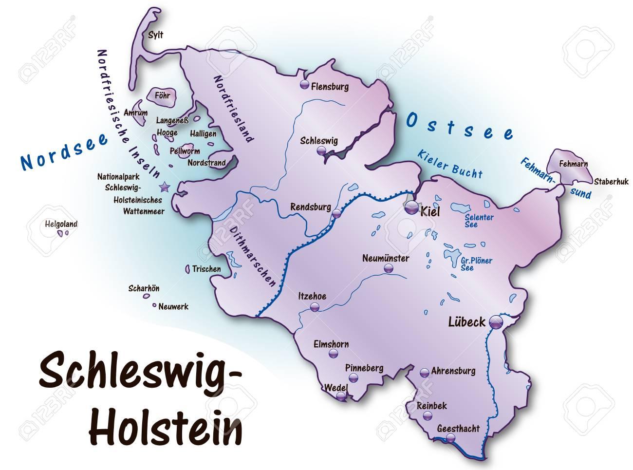 Schleswig Holstein Karte.Stock Photo