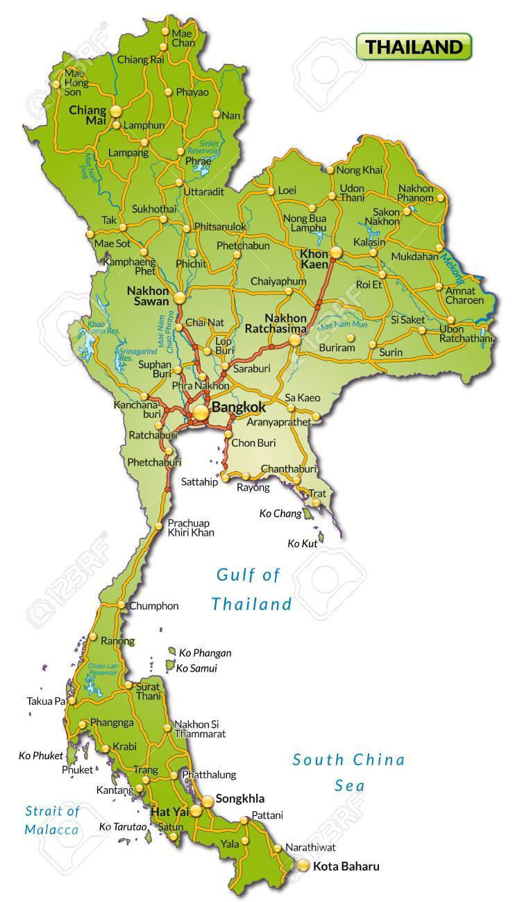 Map of Thailand with highways Stock Vector - 25025828