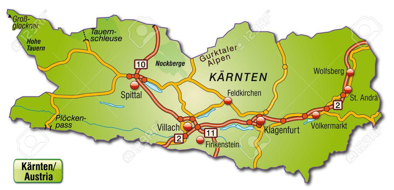 Karte Von Karnten Mit Autobahnen Lizenzfrei Nutzbare