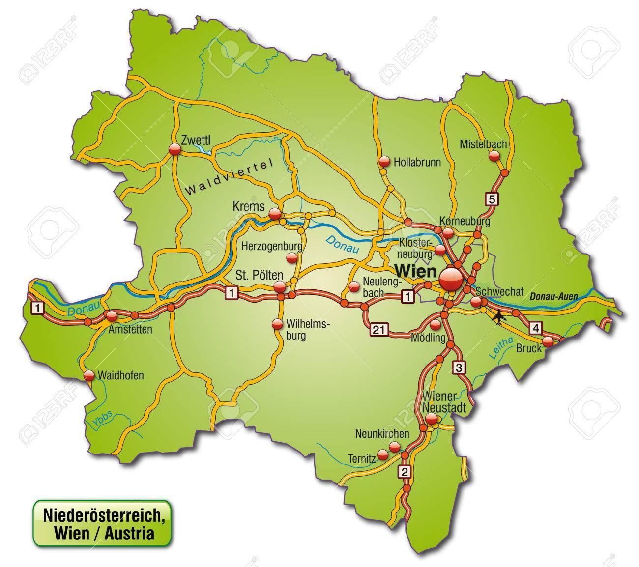 Karte Wien Niederosterreich.Stock Photo