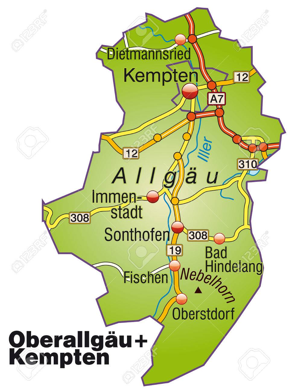 Map Of Oberallgaeu Kempten With Highways Royalty Free Cliparts