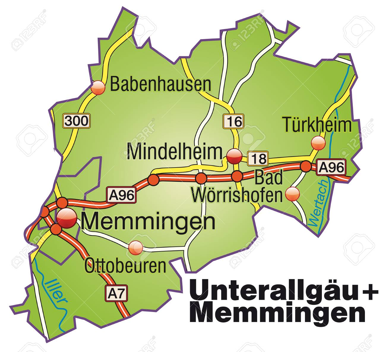 Map Of Unterallgaeu Memmingen With Highways Royalty Free Cliparts
