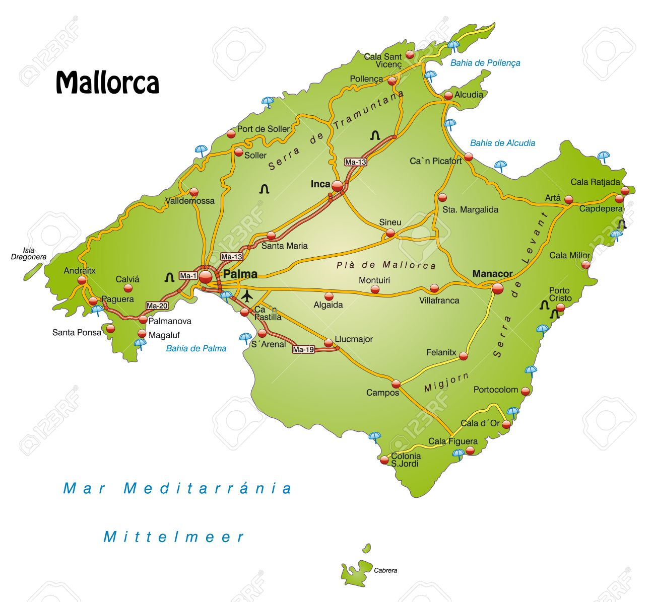 Map Of Mallorca With Highways Royalty Free Cliparts Vectors And