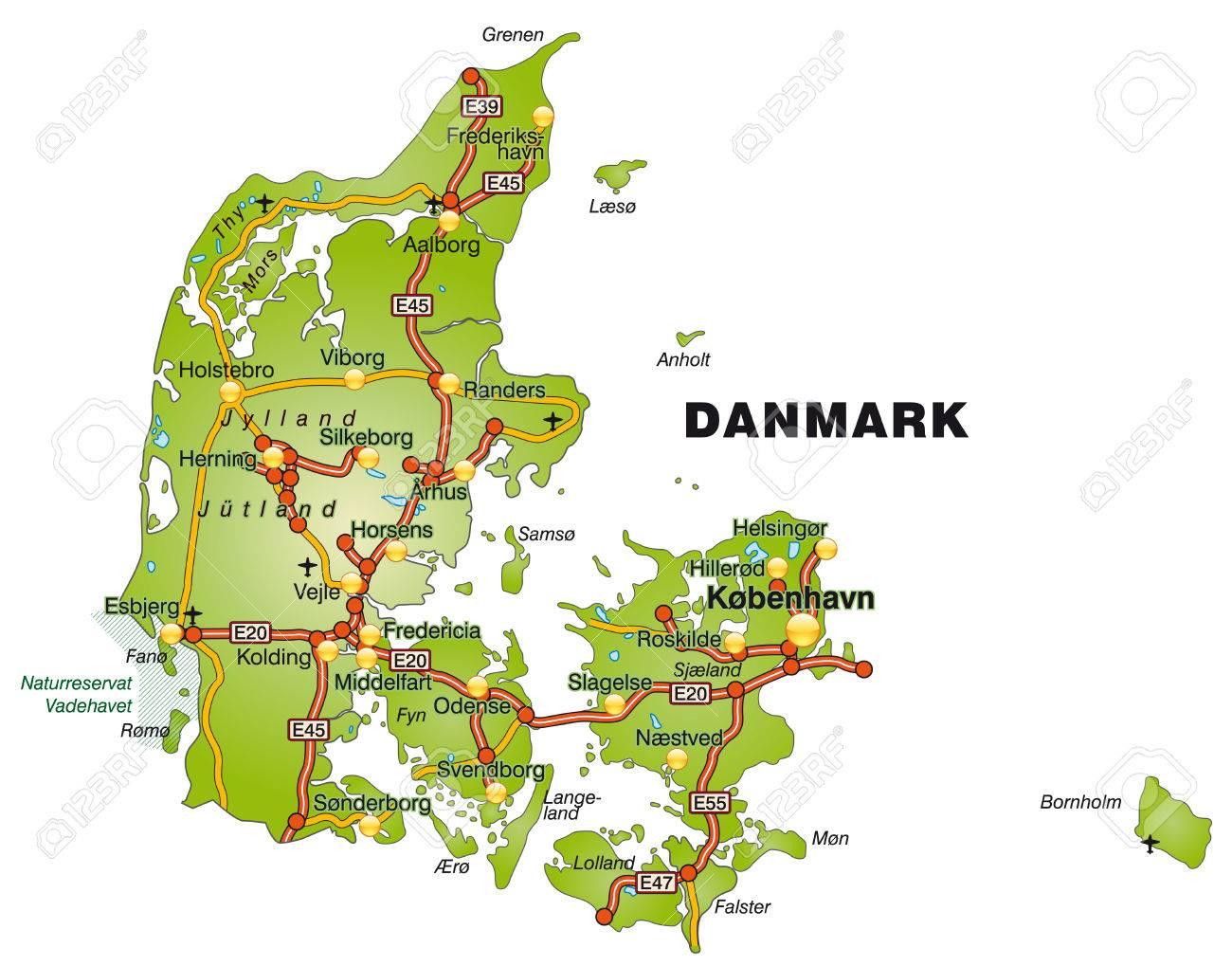 karte von dänemark Karte Von Dänemark Mit Autobahnen Lizenzfrei Nutzbare  karte von dänemark