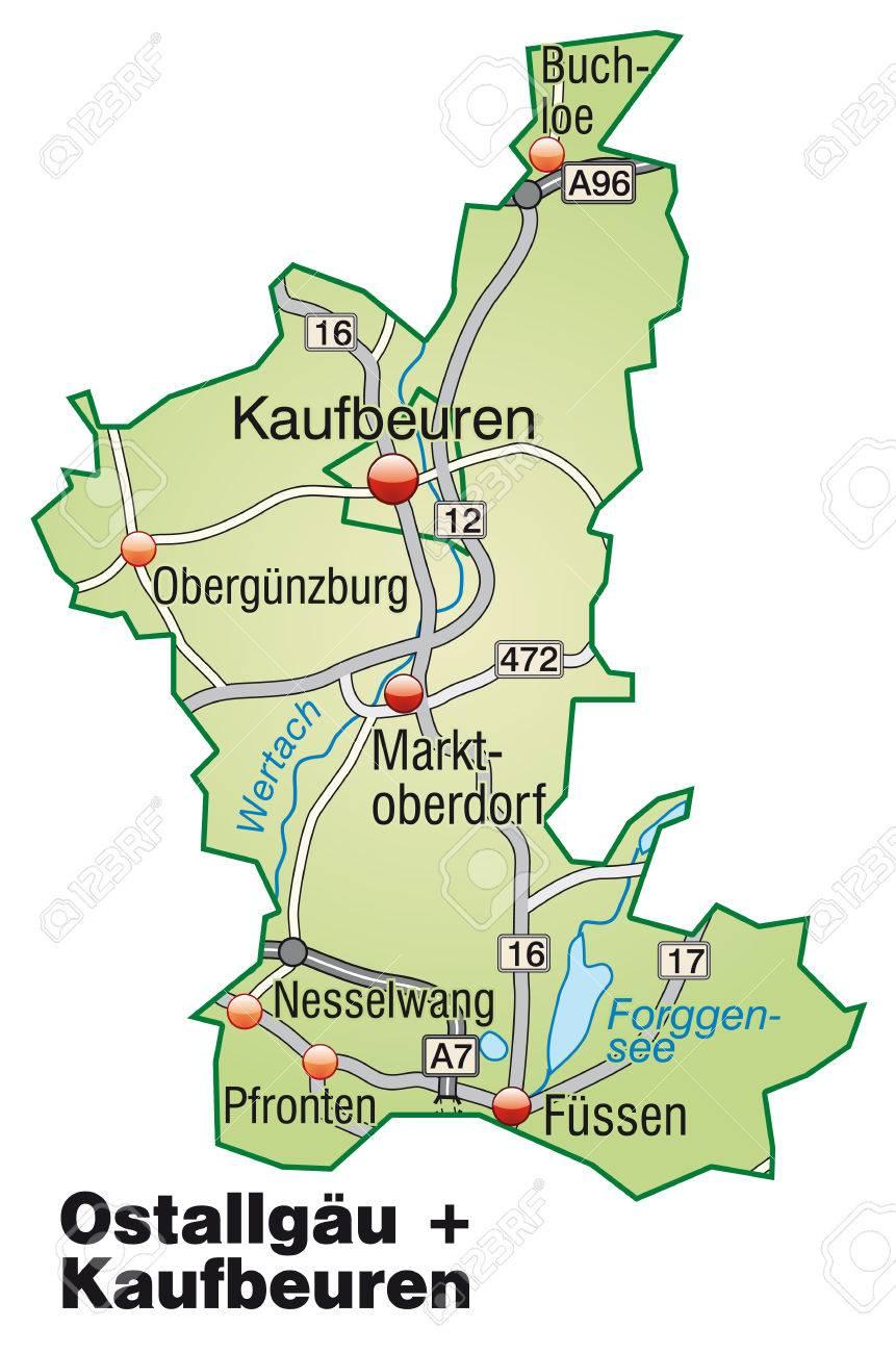ostallgäu karte Karte Von Kaufbeuren Ostallgäu Mit Autobahnen In Pastellgrün