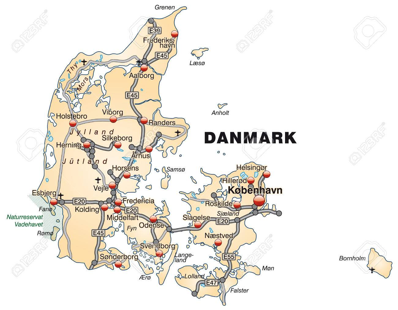 map of denmark with highways in pastel orange royalty free