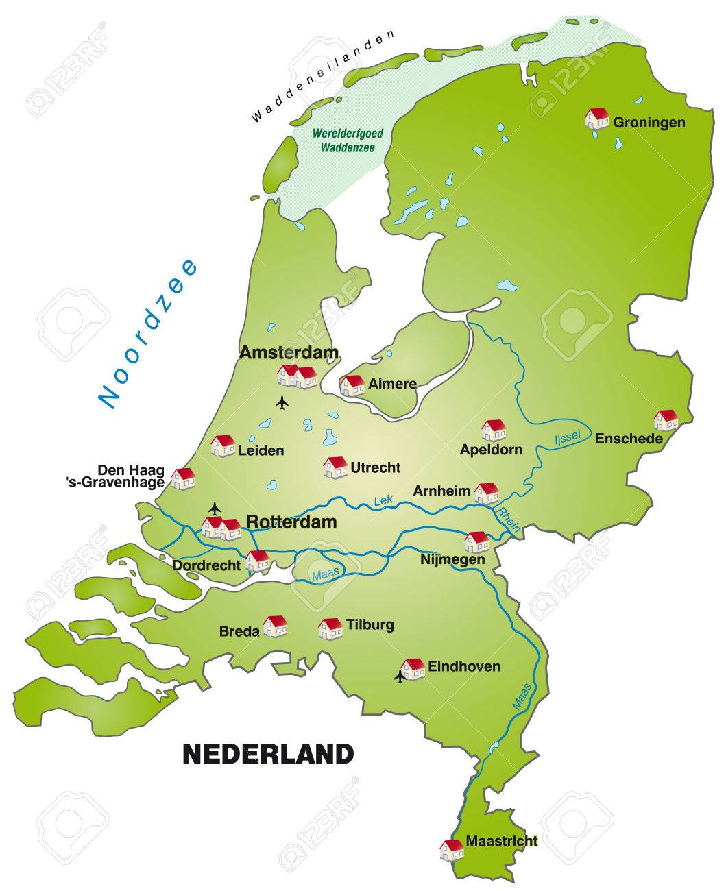Map Of Netherlands As An Infographic In Green Royalty Free Cliparts ...