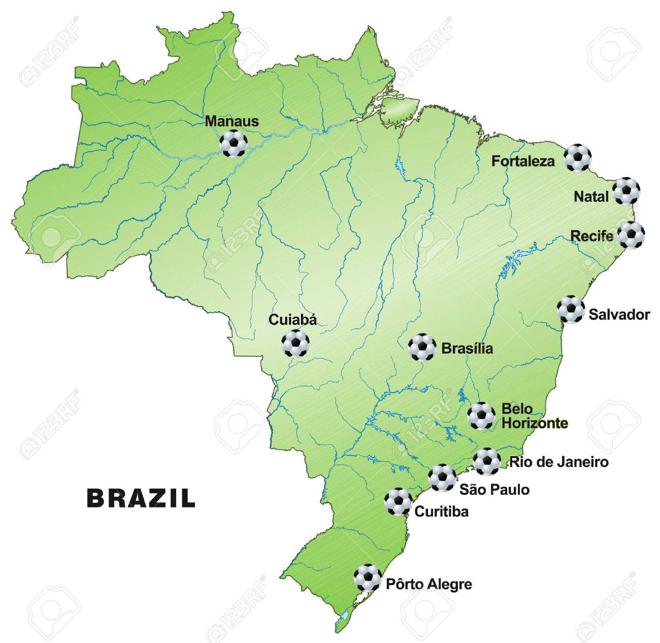 Map Of Brazil In Green Royalty Free Cliparts, Vectors, And Stock ...